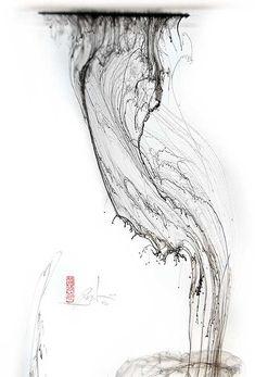 Inkfall (photograph of ink falling through water), Denis Brown