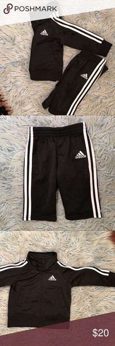 Adidas Tricot Toddler Boy tracksuit 6 months adidas track suit in black and white Adidas Matching Sets