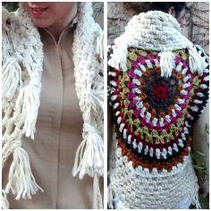 """25 Me gusta, 1 comentarios - Telar De Campo (@telardecampo) en Instagram: """"🌷🌼💜💜 Chaleco hecho a mano, en lana de oveja, tintes naturales #diseñosunicos #crochet#artetextil"""""""