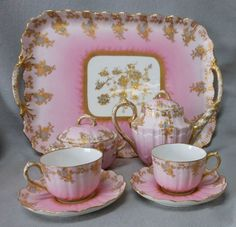 Antique French Limoges Breakfast set-SFH adds:  I am rethinking having a beautiful set like this, which is probably behind glass in a cabinet. Maybe we should be using these beautiful things.