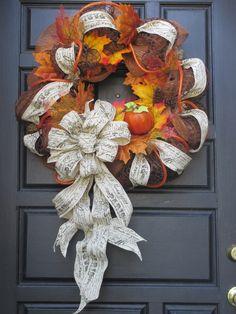 Autumn Deco Mesh Wreath (Image Only)