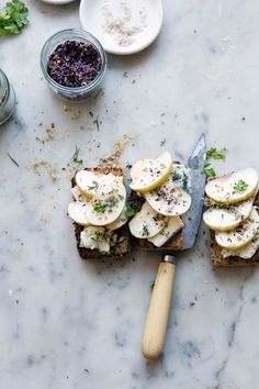 gluten-free oat and honey bread with asian pears and blue.