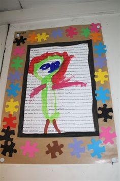 bonhomme avec cadre en puzzles