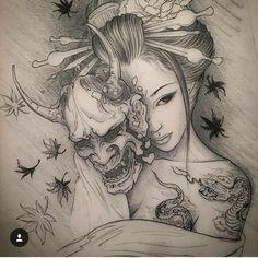 Afbeeldingsresultaat voor geisha taking mask off tattoo Geisha Tattoos, Geisha Tattoo Design, Geisha Tattoo Sleeve, Japanese Tattoo Art, Japanese Tattoo Designs, Japanese Art, Japanese Prints, Japanese Sleeve, Japanese Geisha
