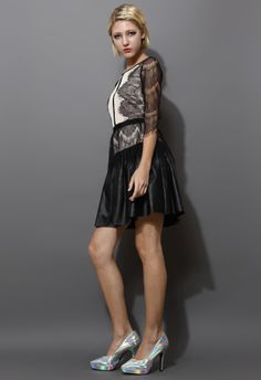 Eyelash Lace Dress with Faux Leather Skirt
