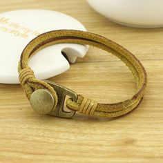 ETS-B072 Real leather bracelet, fashion leather string bracelet with bronze clasp, leather chain bracelet, 20 cm , 1 pc