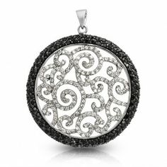 Bling Jewelry Onyx Color CZ Black White Swirl Gatsby Inspired Medallion Pendant