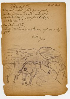 """Page from a children's memory book written in Terezin with a picture of a lightning bolt coming down into a walled city. The book was presented as a gift to Misa Grunbaum.  The translation of the poem reads """"Further and further, always further; The battle for life pierces the armor; Don't worry about thunder; To accept blows and not give in; Continuously come closer and closer."""" It is signed Petr Ganz."""