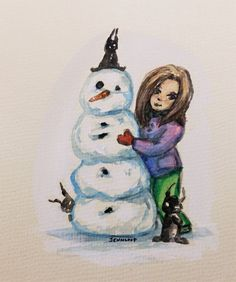 Little demons and Snowman watercolor and ink illustration by Jennifer Lindroos / Jennloop (@tweetyloop) on Twitter E Day, Ink Illustrations, Watercolor And Ink, Demons, The Dreamers, Snowman, The Creator, Christmas Ornaments, Holiday Decor