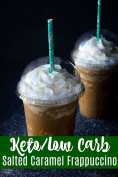 Make this tasty low carb and keto friendly coff… Keto Salted Caramel Frappuccino. Make this tasty low carb and keto friendly coffee drink at home! So easy to make this keto frappuccino with out having to leave the house! Low Carb Starbucks Drinks, Low Carb Drinks, Starbucks Recipes, Low Carb Mixed Drinks, Keto Coffee Recipe, Coffee Recipes, Salted Caramel Coffee Recipe, Fondue Recipes, Copycat Recipes