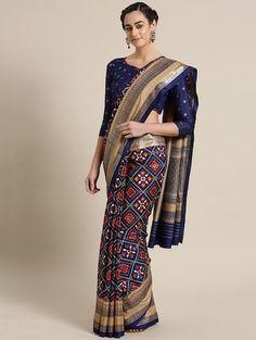 Buy Saree Mall Navy Blue & Red Printed Patola Saree - - Apparel for Women Kanjivaram Sarees, Cod, Mall, Navy Blue, Stuff To Buy, Women, Style, Free, Fashion