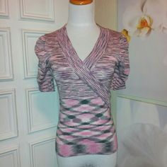 ~ EUC~Short Sleeved Wrapped Fitted Sweater ~Excellent used condition~ Tag reads large, fits me like a Jr's small. Pictured on a small dress form, with about 34B bust line. No fabric tag, good stretch. ~smoke free~ XOXO Sweaters Crew & Scoop Necks