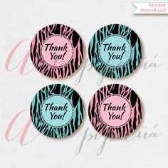 Thank You Favor Tags .Zebra tags. Blue zebra tags. Pink zebra tags. Printable tag. INSTANT DOWNLOAD