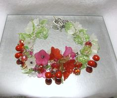 Blossoming Cherries - Jewelry creation by Linda Foust Ruby Crystal, Flower Jewelry, Ornament Wreath, Cherries, Cherry Blossom, Pink Flowers, Jewelry Making, Jewels, Crystals
