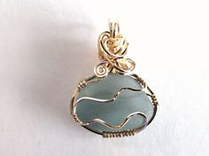 Grey Sea Glass Pendant Wire Wrapped, 14K Gold Filled Metalwork Jewelry, English Beach Glass Necklace