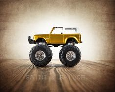 Vintage Monster Truck Gold and White Hard top Bronco