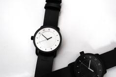 No.1 Black & White / Black Leather Wristband