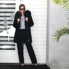 Fashion Statements by Q    The only reason why I love winter      #ootd #outfit #blog #blogger #fashionblog #fashionblogger #black #coat #fur #gucci #sunglasses #prada #highheels #zara #stripes