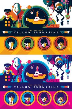 The Beatles Yellow Submarine Print Set by Tom Whalen - Print 1 Standard and Pink Variant Editions