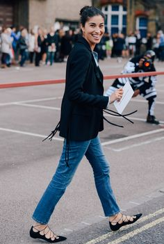 LondonFW Spring 2015 - in the streets..... love this denim  & denim, fringe blazer, killer flat shoes #CarolineIssa