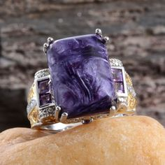 Siberian Charoite, Amethyst, and Diamond Ring in 14K Yellow Gold and Platinum Overlay Sterling Silver (Nickel Free)