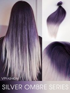 black to granny silver two color ombre clip in hair extensions-c038