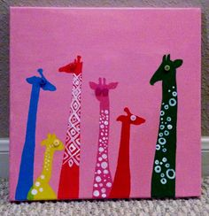 Unique Colorful Giraffe HandPainted Acrylic by LoveUniqueBaby, $20.00 ...BTW,Please Check this out: http://artcaffeine.imobileappsys.com
