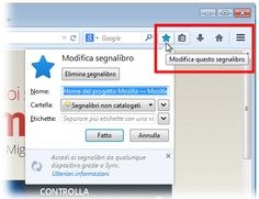 I segnalibri consentono di salvare i link alle pagine web visitate con Firefox senza dover necessariamente ricordare il loro indirizzo.  Questo articolo descrive come aggiungere nuovi segnalibri, come visualizzarli e come gestirli.  Per aggiungere un nuovo segnalibro fare clic sull'icona con il simbolo della stella nella Barra degli indirizzi. L'icona della stella si colorerà di blu e il segnalibro relativo