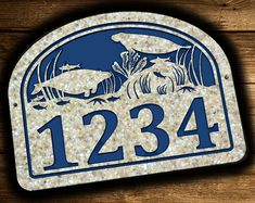 CUSTOM HANDMADE MANATEE STAR FISH PERSONALIZED ADDRESS PLAQUE  This large 10.5 x 14 address plaque is engraved with an underwater scene