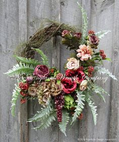Chatham Victorian Garden Wreath. An absolutely stunning array of gorgeous Peonies, Roses and wildflowers in romantic Victorian garden hues of deep plum, dusty rose, coral, taupe, creamy beige, and sha