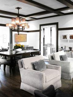 Modern Living Room by Croma Design Inc Black Trim Interior, Dark Trim, White Trim, Black White, Brown Trim, Decoration Inspiration, Living Room Lighting, Room Lights, Ceiling Design
