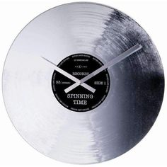 The Silver Record Wall Clock - Control Brand MCM is a fun gift music lovers are sure to appreciate. Crafted of glass, this analog wall clock looks just like a vinyl record. Simply install a AA battery, hang, and enjoy. Record Clock, Record Wall, Wall Clock Glass, Outdoor Wall Clocks, Glass And Aluminium, Cool Clocks, Vintage Silhouette, Music Wall, Home