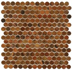 Mosaics Metal Tile Penny Round Antique Copper by FlooringSupplyShop.com