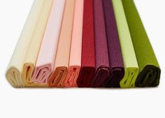 Description: Pack of 10 assorted colors of high quality, extra fine crepe papers from DIY designer Lia Griffith in a color palette inspired by nature. Colors include Vanilla, Chiffon, Blush, Coral, Ho