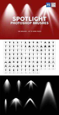 100 Spotlight Photoshop Brushes Pixel Size, Photoshop Brushes, Spotlight, Ps, The 100, Templates, Design, Stencils