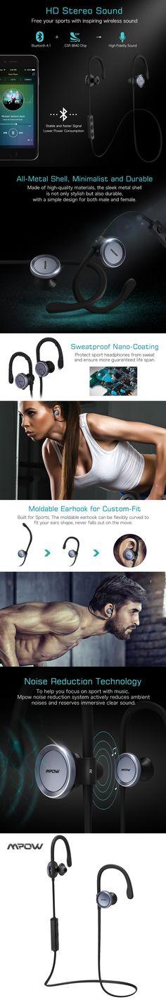 Mpow Goshawk Wireless Noise Cancelling Headphones Sports Headset Sweatproof Running Gym Exercise Headphone, Bluetooth 4.1