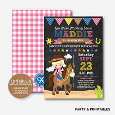 Invitations and Party Printables by everjolly Cowgirl Birthday Invitations, Birthday Tags, Party Invitations, 9th Birthday, Monster First Birthday, Diy Party Supplies, Cowgirl Party, Western Parties, Party Printables