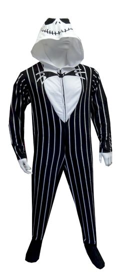 """Nightmare Before Christmas Jack Skellington Adult Footie Pajama  Now you can look just like Jack Skellington! These pajamas for adults are designed to look just like Jack. The hood completes the disguise and gives added warmth on cold nights. This soft fleece footie pajama has a half-zip front, side pockets and feet that completely zip off! Unisex sizing. Medium fits 5'3""""-5'7"""" 125-150 lbs. Large fits 5'7""""-5'11"""" 150-175 lbs. XL fits 5'11""""-6'2"""" 175-200 lbs. 2X fits 5'11""""-6'3"""" 200-250. $35"""