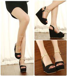 Women's Heels Solid Color High Heel Wedges Platform Sandal Shoes With Buckle