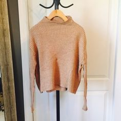 Ribbed Knit Taupe Sweater 100% Cotton Sweaters Cowl & Turtlenecks