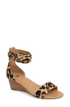 Free shipping and returns on UGG® Char Leopard Print Calf Hair Sandal (Women) at Nordstrom.com. A stacked-wedge heel provides just-right lift in a chic ankle-strap sandal made from genuine calf hair and patterned in exotic spots.
