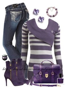 """""""PURPLE"""" by amber-1991 ❤ liked on Polyvore featuring BaubleBar, Miss Me, Wet Seal, Joan & David, Sensai, Aspinal of London and tarte"""