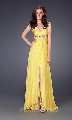 905e8d5d9677 A-line Strapless Sweetheart Drape Empire High Slit Yellow Prom Dress