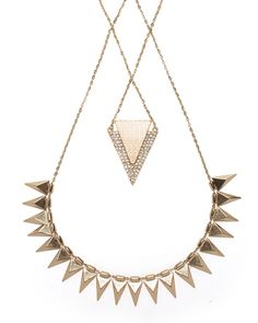 {Golden Trinket Necklace} JewelMint - 2-tier spiky goodness