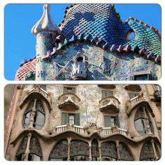 Barcelona - Casa Batlló! Another landmark building created by Gaudí, resplendent with sculptural stonework and multi-hued mosaic tiles.