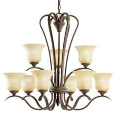 Kichler Wedgeport 9 Light Wide LED Chandelier with Etched Shades Olde Bronze Indoor Lighting Chandeliers Chandelier Shades, Chandelier Lighting, Ceiling Fan, Ceiling Lights, Compact Fluorescent Bulbs, Glass Material, Lantern Pendant, Lighting Solutions, Bronze Finish