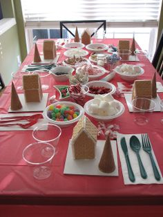 Gingerbread party. Everyone gets a homemade graham cracker house and ice cream cone tree to decorate. This looks so fun!