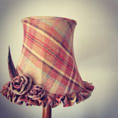 I made this lovely tartan vintage shade with handmade trim!