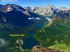 A bird's-eye view of the Many Glacier Hotel in Glacier National Park. This photo was taken from the summit of Altyn Peak, 3,000 feet above the hotel!