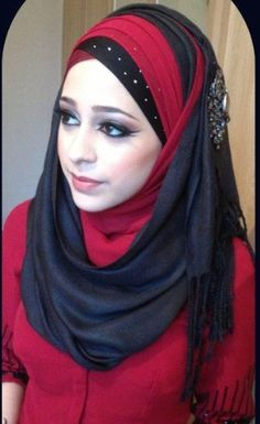 Red and Black layered hijab style